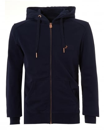 Mens Navy Zip Hoodie, Metal Horseshoe Logo Badge Zip Sweater