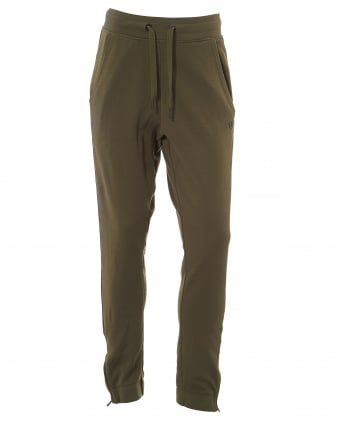 Mens Olive Metal Badge Sweatpants, Khaki Green Trackpants