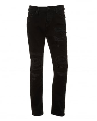 Mens Rocco Jeans, Slim Fit Distressed Black Denim