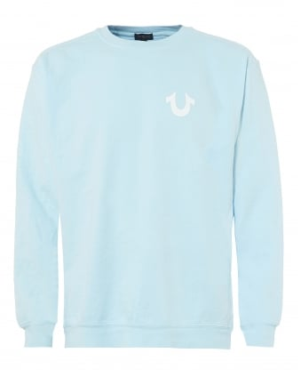 Mens Sky Blue Sweatshirt, White Horseshoe Logo Graphic Jumper