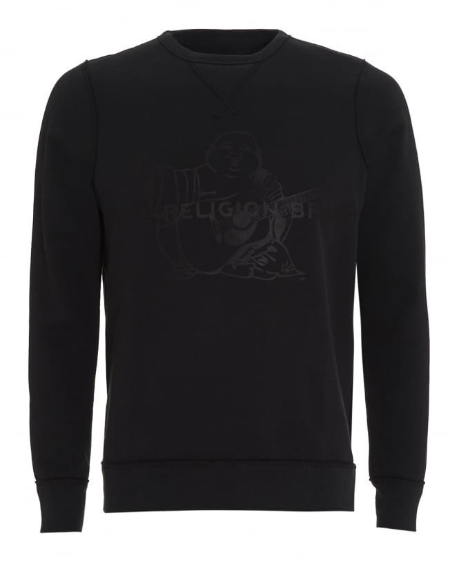 True Religion Jeans Mens Sweatshirt Black True Religion Brand Buddha Logo