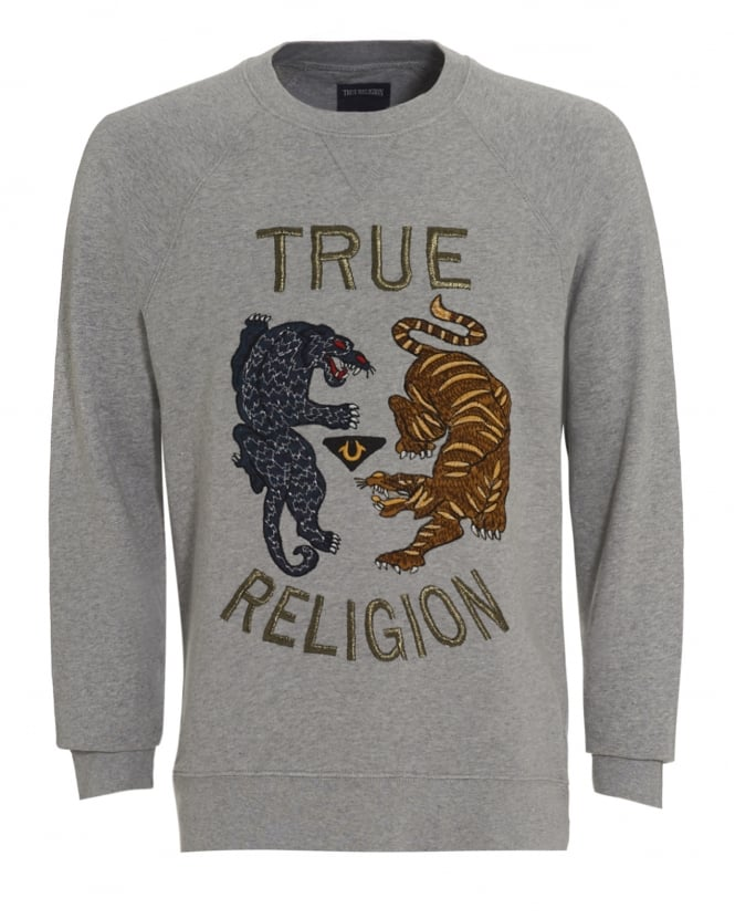 True Religion Jeans Mens Sweatshirt Grey Tiger Logo Jumper