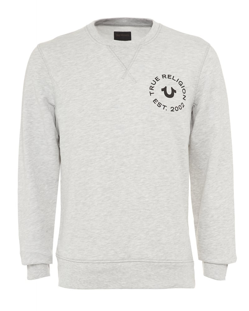 Mens Sweatshirt Horseshoe Stamp Logo Grey Jumper