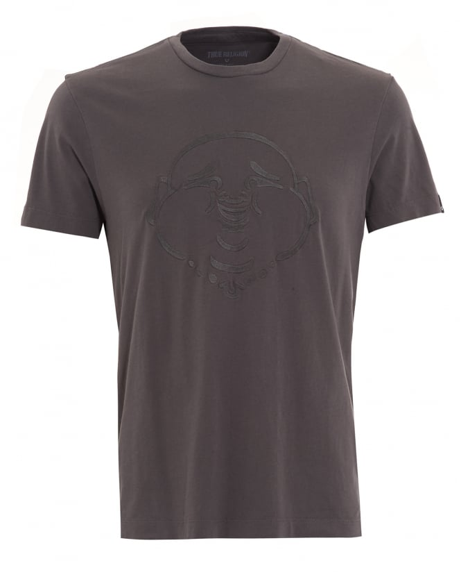 True Religion Jeans Mens T-Shirt, Charcoal Grey Embroidered Buddha Face Tee