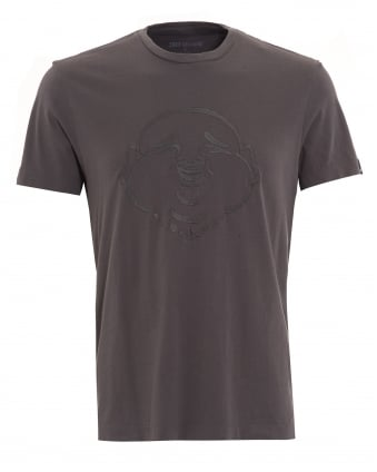 Mens T-Shirt, Charcoal Grey Embroidered Buddha Face Tee