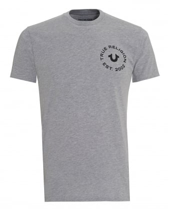 Mens T-Shirt, Heather Grey Circle Graphic Logo Tee