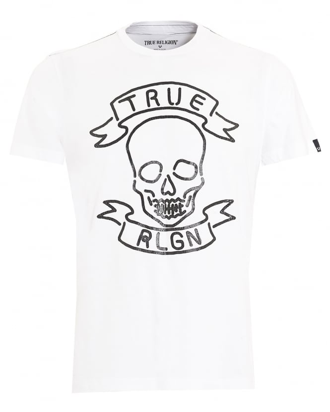 True Religion Jeans Mens T-Shirt, Neon Skull White Tee
