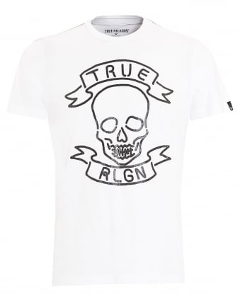 Mens T-Shirt, Neon Skull White Tee