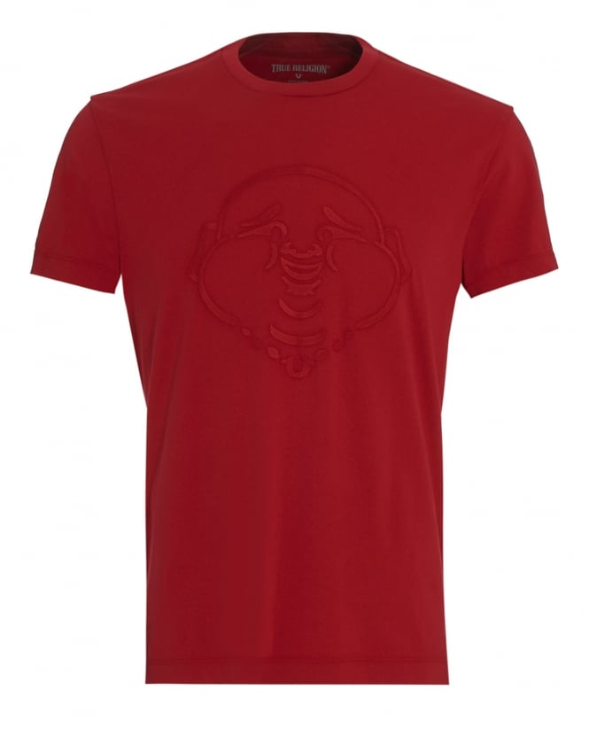 True Religion Jeans Mens T-Shirt, Red Embroidered Buddha Face Tee