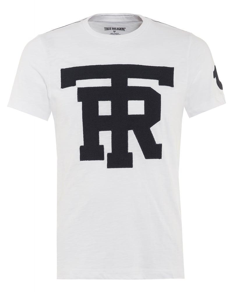 true religion mens t shirt university graphic tr white tee. Black Bedroom Furniture Sets. Home Design Ideas