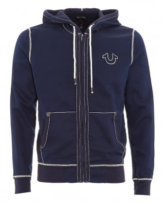 Mens Tracksuit Top, Big T Navy Blue Horseshoe Triple Stitch Hoodie