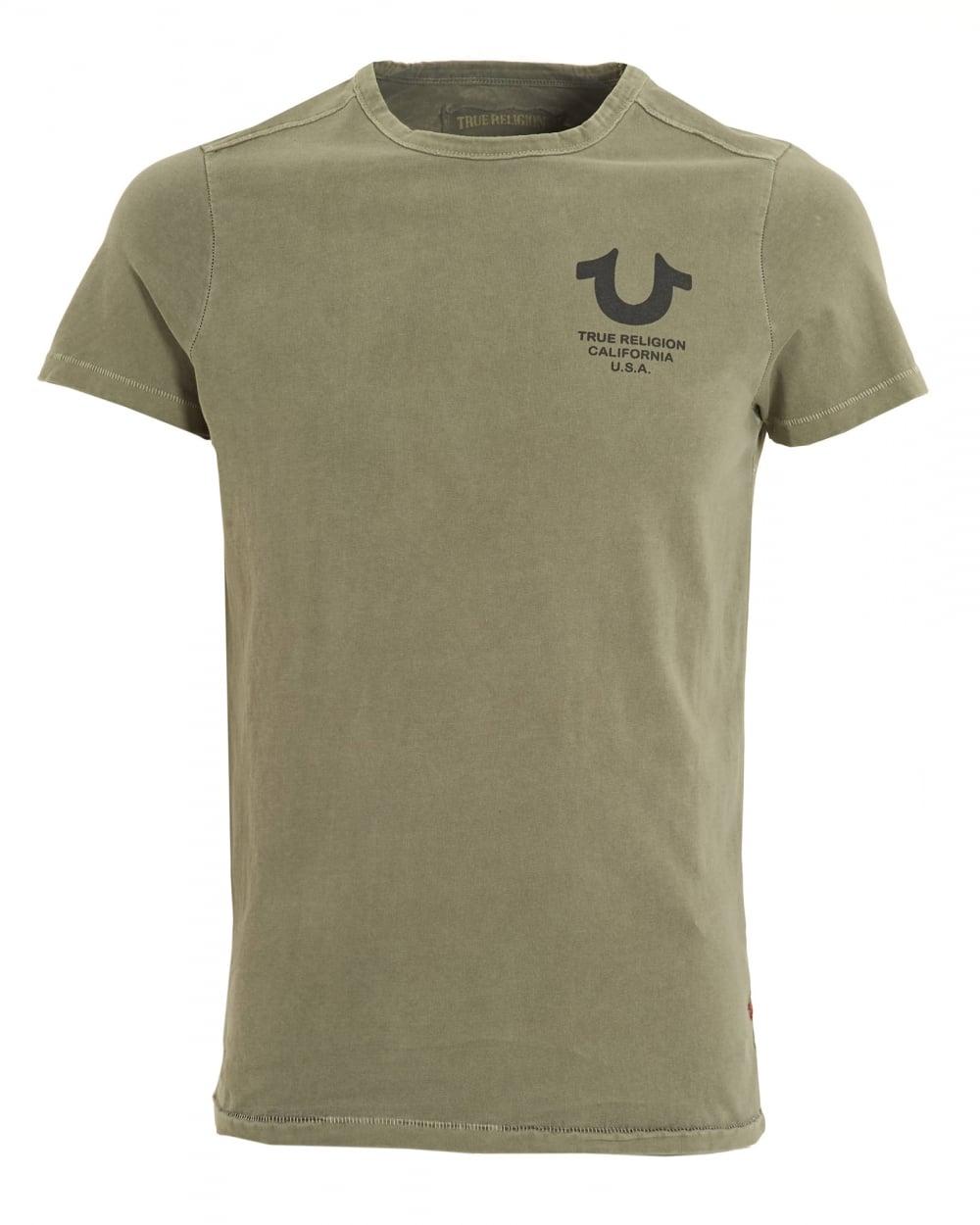 True Religion Mens California Usa T Shirt Crew Neck Dusty Olive Tee