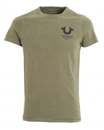 Mens True Religion California USA T-shirt, Crew Neck Dusty Olive Tee