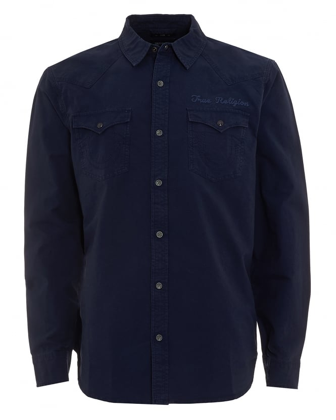 True Religion Jeans Mens Western Style Scripted Logo Navy Blue Shirt