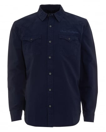 Mens Western Style Scripted Logo Navy Blue Shirt