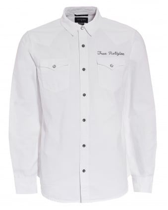Mens Western Style Scripted Logo White Shirt