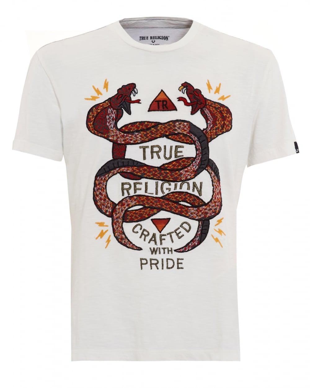 T shirt whitesnake - Mens White Snake Embroidered T Shirt