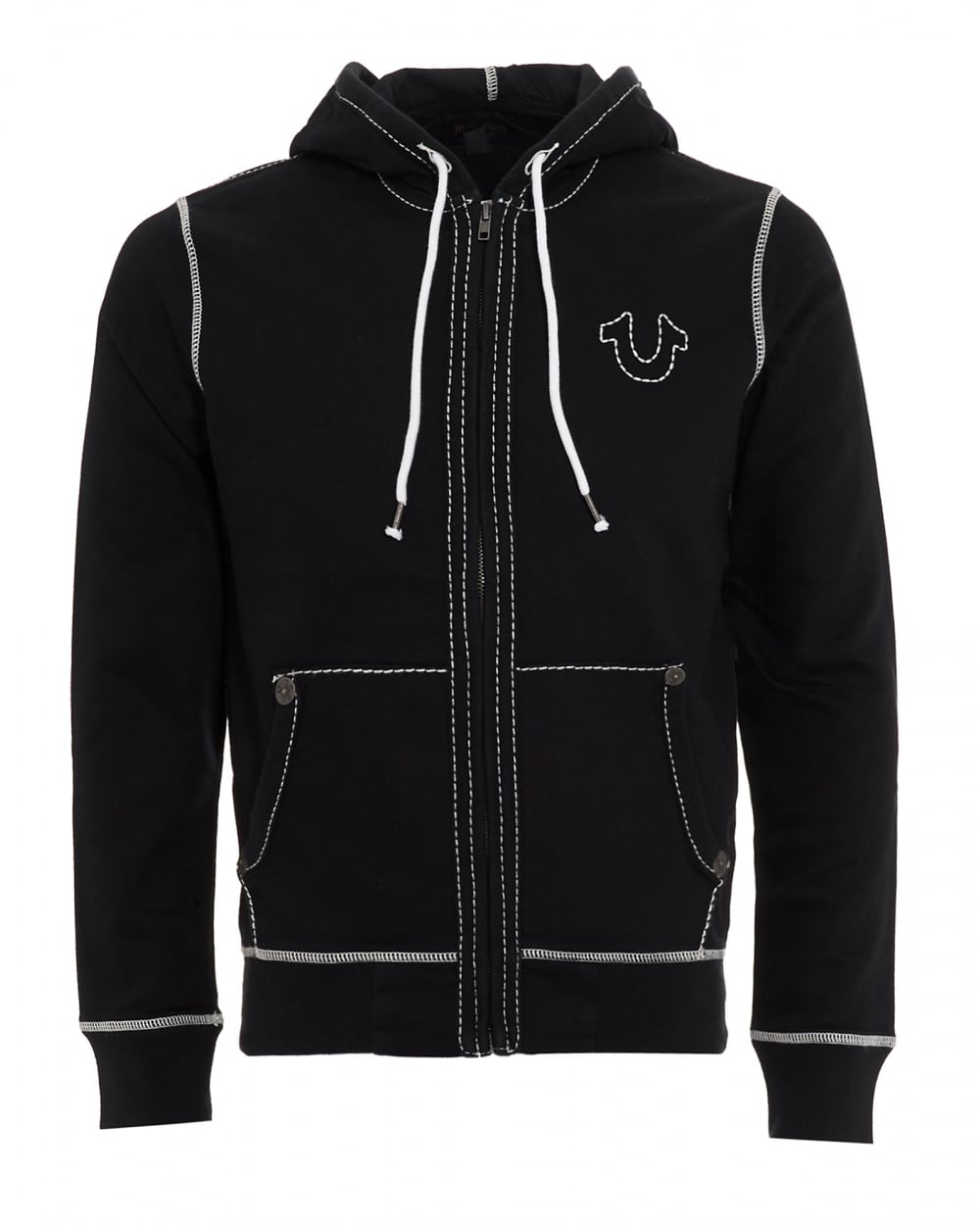 true religion jeans mens white stitch full zip black hoodie. Black Bedroom Furniture Sets. Home Design Ideas
