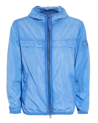 Mens Windbreaker Hooded French Blue Jacket