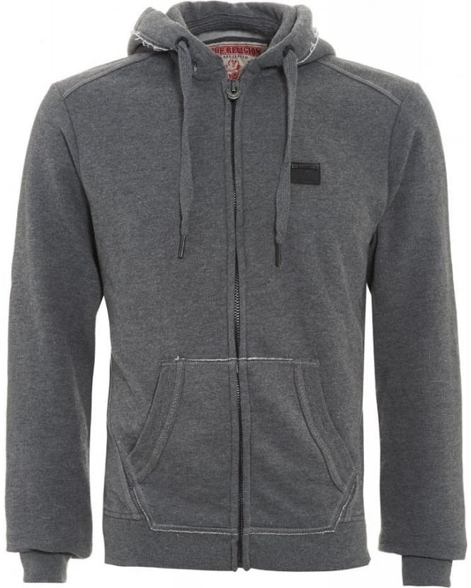 True Religion Jeans Tracksuit Top, Grey Marl Hoodie