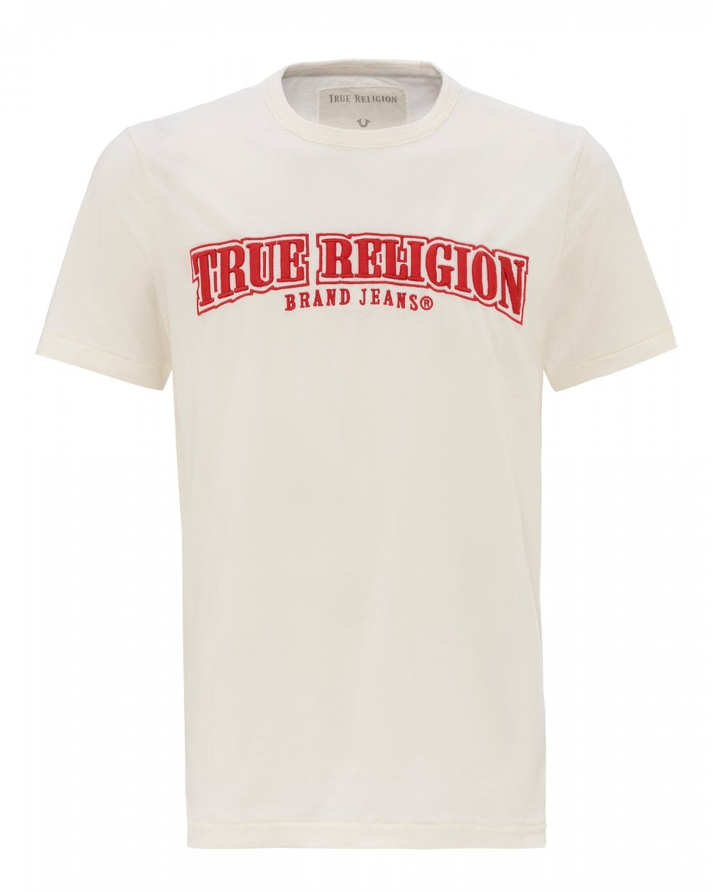 2cb7b987 True Religion Mens Embroidered Logo T-Shirt, White Tee