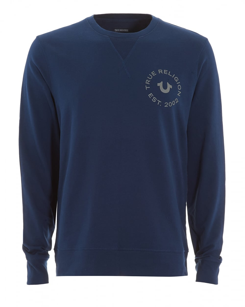 True Religion Jeans Mens Large Horseshoe Logo Navy Blue Sweatshirt 68d38f2f703