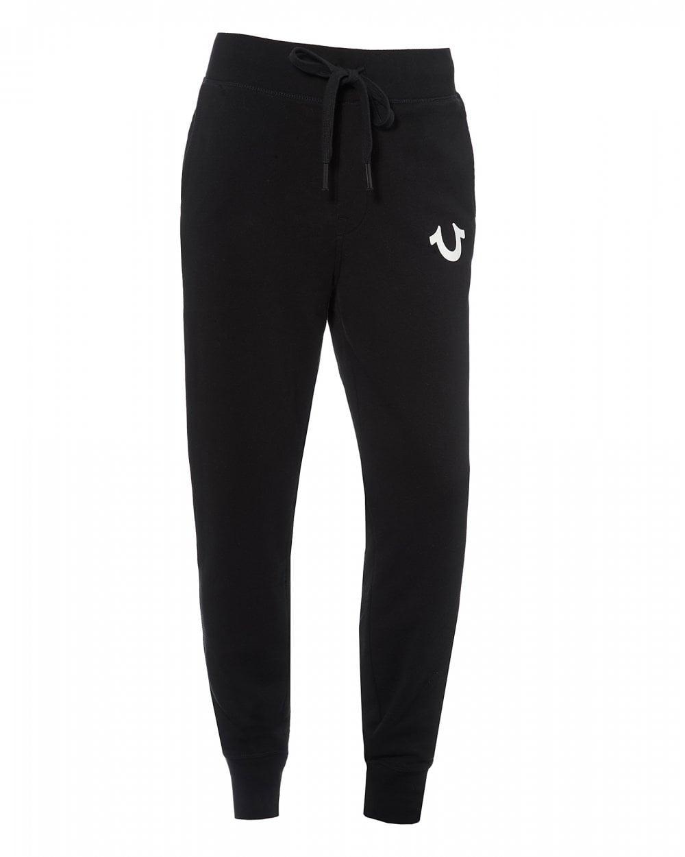 b511f379ef True Religion Mens Logo Cuffed Joggers, Black Sweatpants