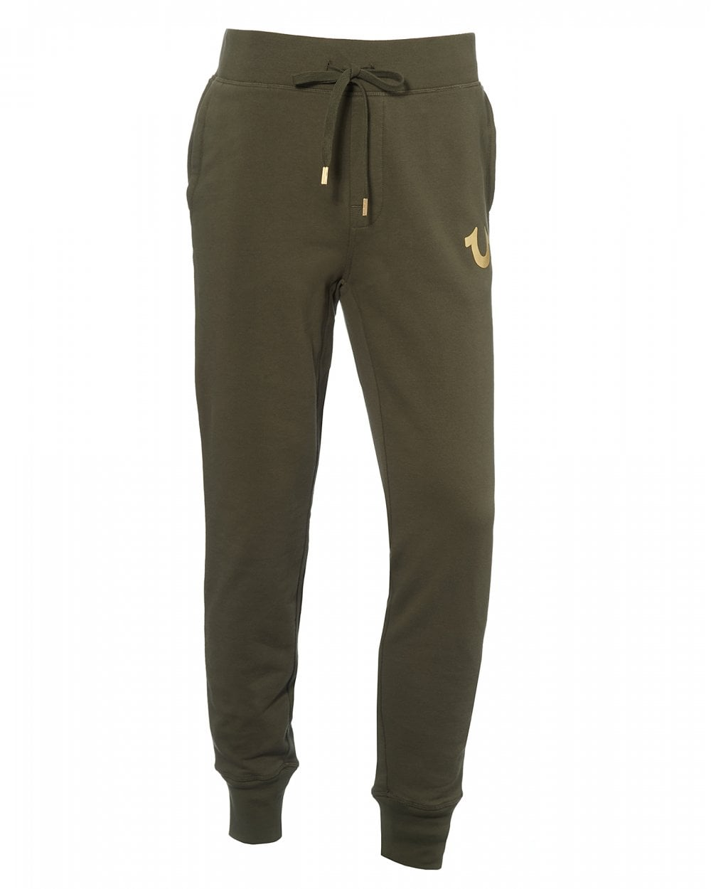 976afc655b True Religion Mens Logo Cuffed Joggers, Military Green Sweatpants