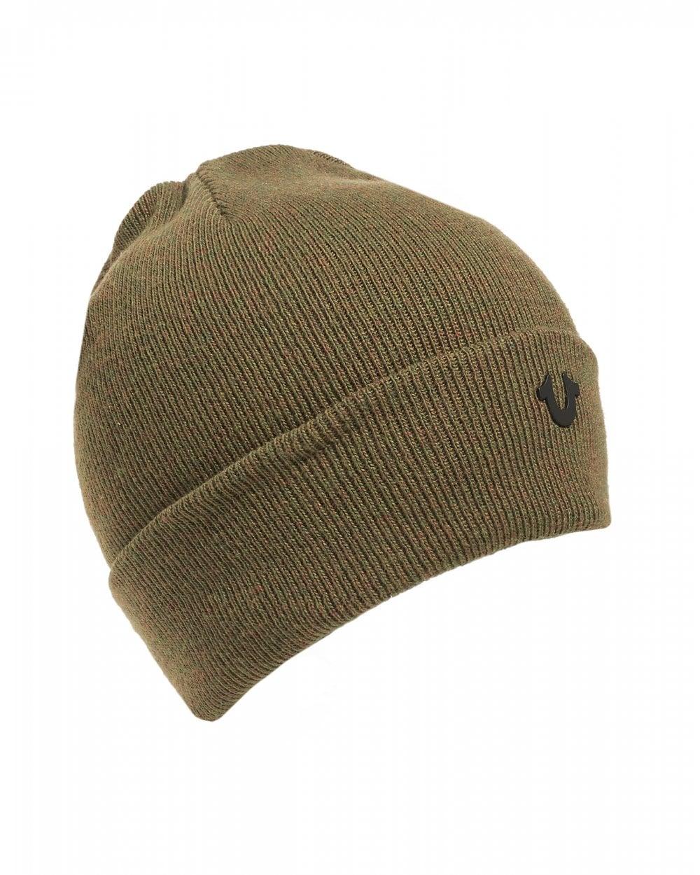 True Religion Mens Metal Logo Olive Green Beanie Hat 069c750bfba