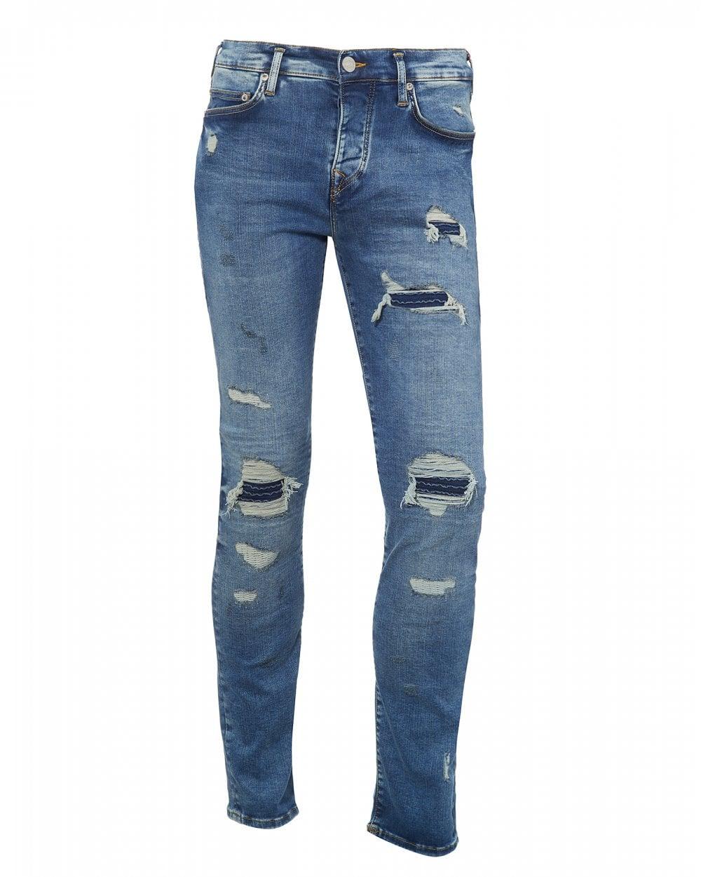 b45374ea7 True Religion Mens Rocco Destroyed Jeans, Navy Blue Denim