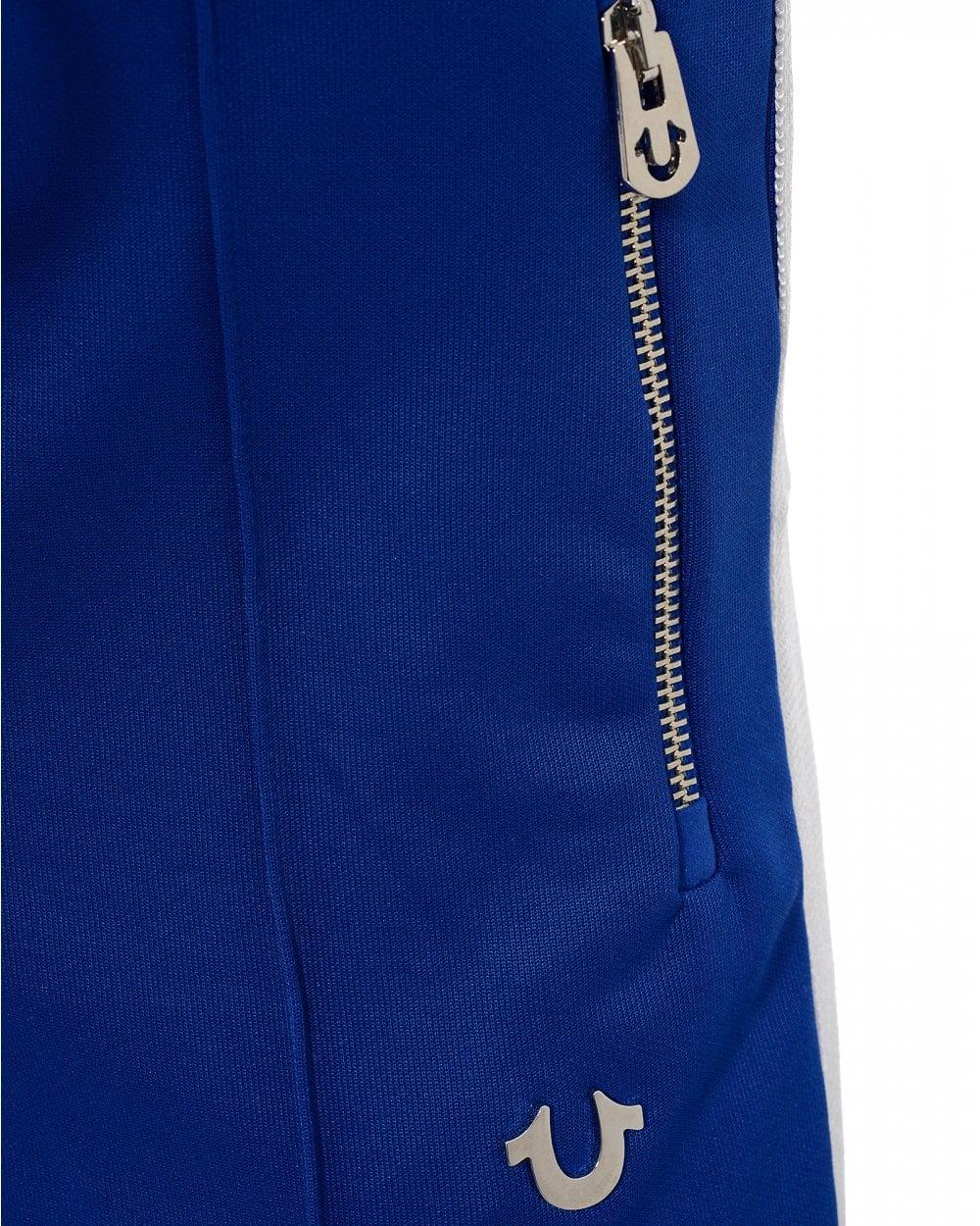 b3c0d312c8 True Religion Mens Striped Sweatpants, Surf Blue Slim Fit Trackpants