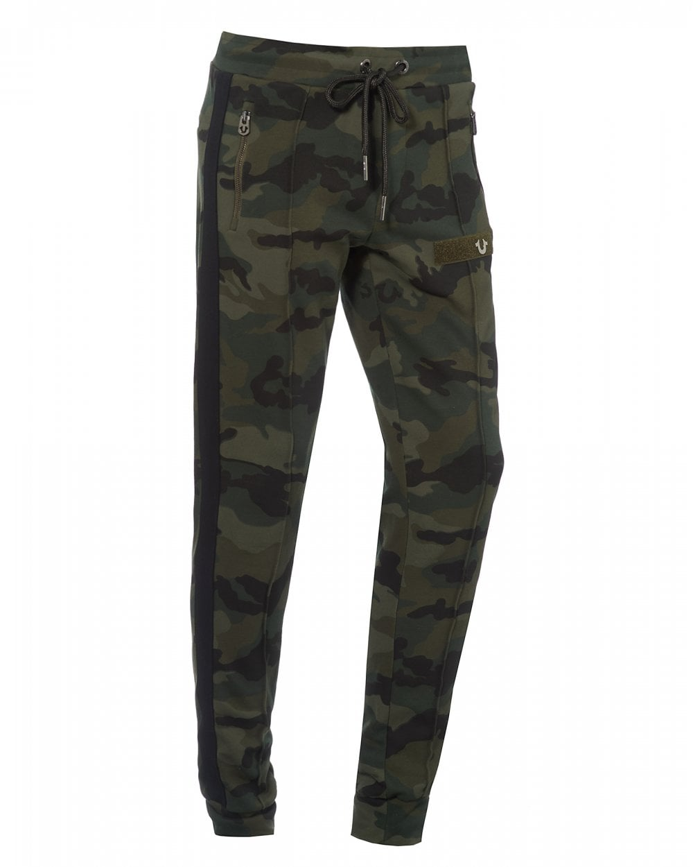 cf4c4a136c True Religion Mens Taped Cuffed Trackpants, Dark Camo Sweatpants