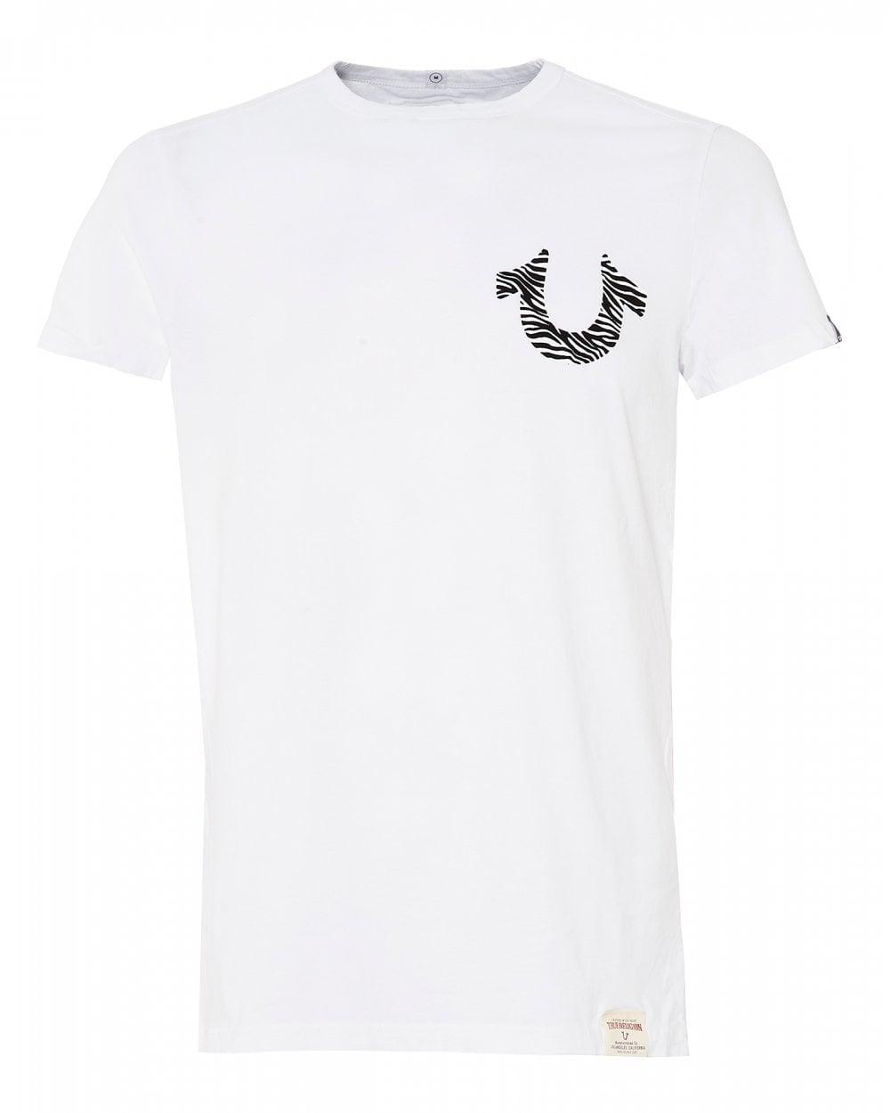 21b40313 True Religion Mens Zebra Horseshoe Logo T-Shirt, White Tee