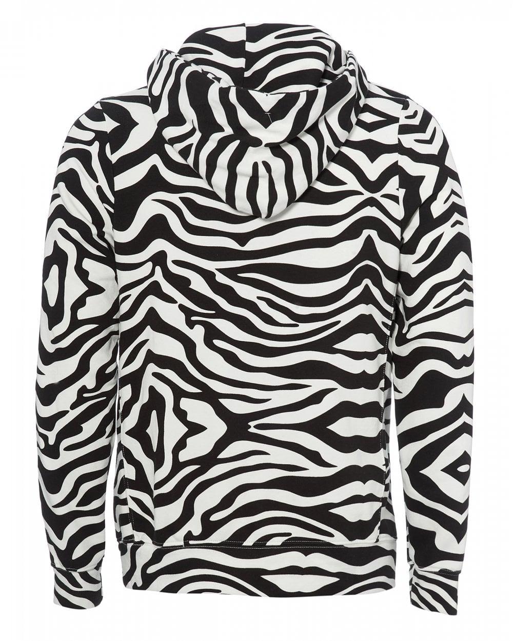 12f658ba Mens Zebra Print Hoodie, Black and White Sweatshirt