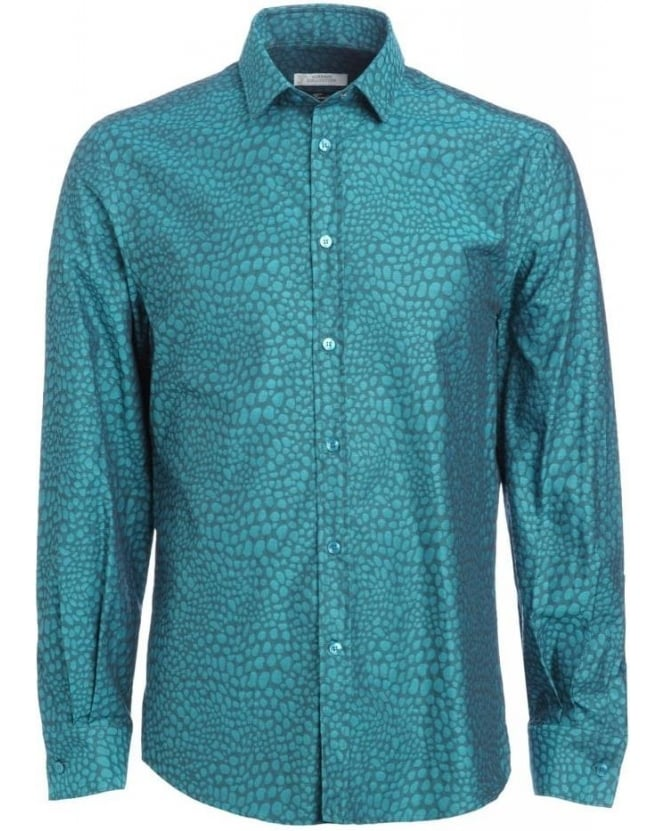 Versace Collection Turquoise Shirt Animal Print Slim Fit Shirt