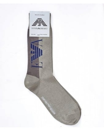 Two Tone Large Logo Light Grey Ankle Socks