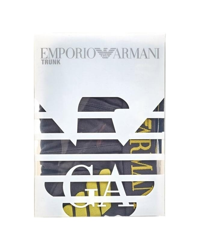 Emporio Armani Underwear, Grey Boxers Yellow Eagle Logo Trunks