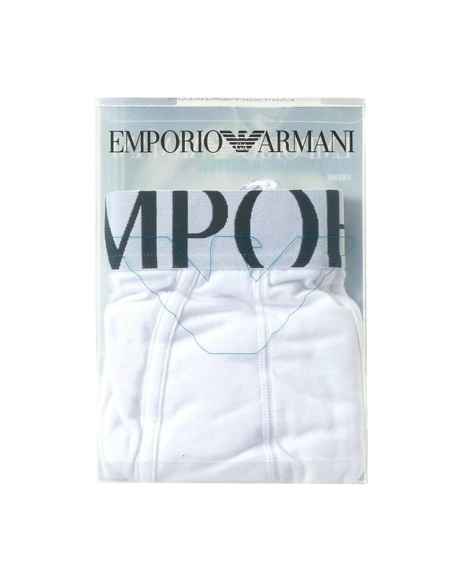 Emporio Armani Underwear White Large Eagle Trunks