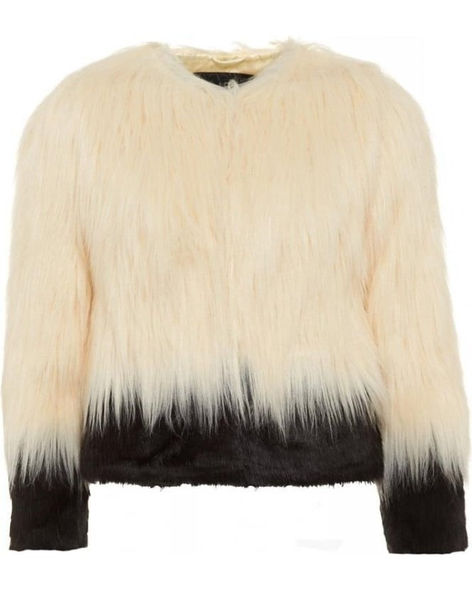 Unreal Fur Fire and Ice, Black and Ivory Faux Fur Short Jacket