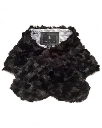 Furocious Tread Through, Black Faux Fur Scarf