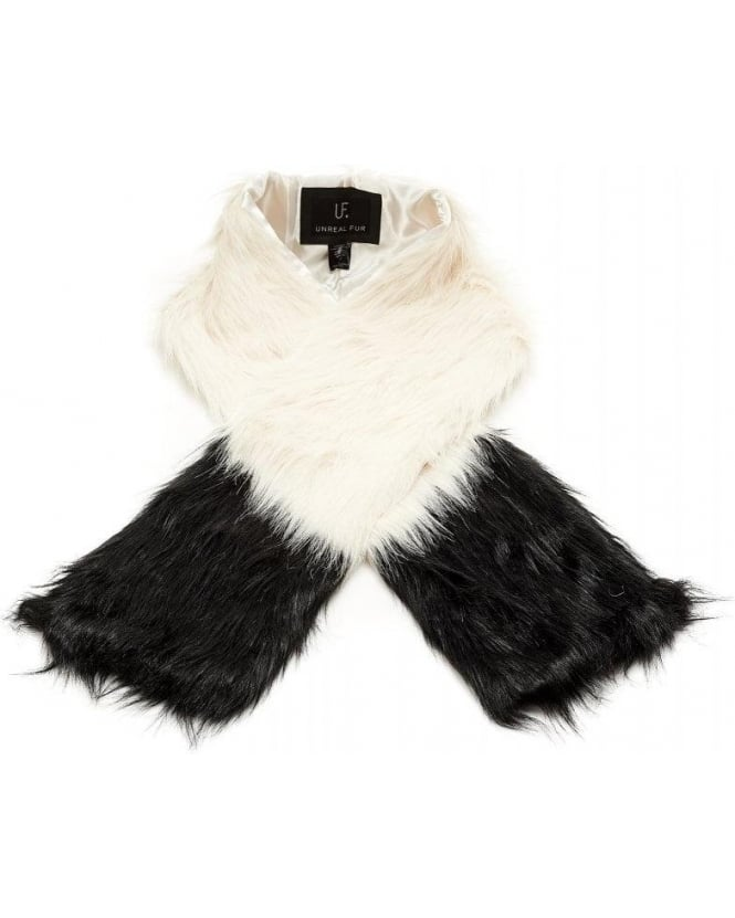 Unreal Fur Opposites Attract Two Tone Black and White Faux Fur Scarf