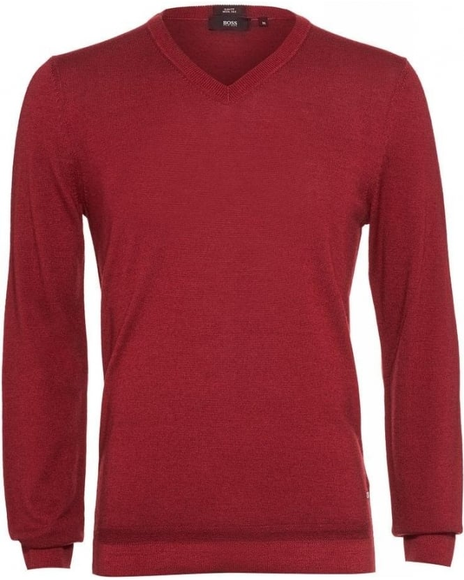 Hugo Boss Black 'Ustico' Sweater, V-Neck Burgundy Jumper