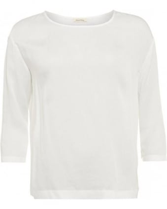 Valisville Top, White Cotton Three-Quarter Sleeve T-Shirt