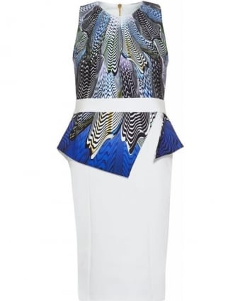 'Vallerie' Blue Wave Print Peplum Dress