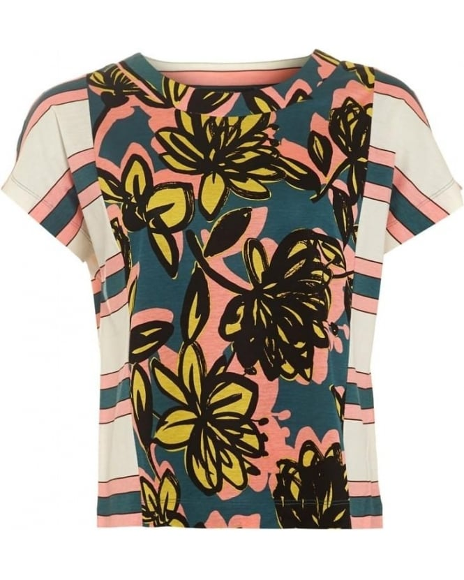 Max Mara Weekend Veleno Womens T-Shirt Floral Stripe Panel Multicoloured Top