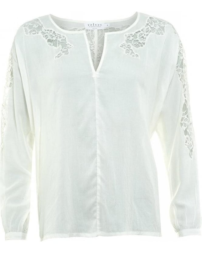 Velvet by Graham & Spencer White Lace Detail Jennilyn 02 Blouse
