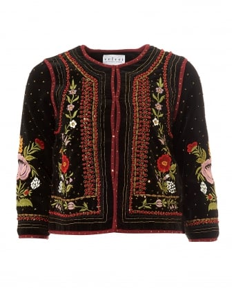 Womens Adara Embroidered Velvet Multi Black Jacket