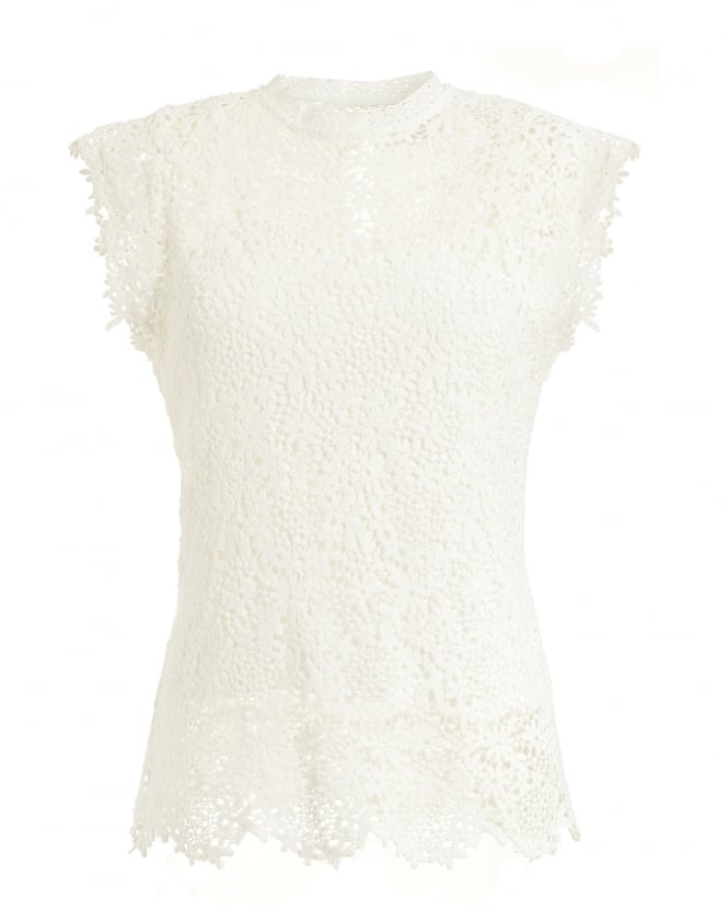 Velvet by Graham & Spencer Womens Allie High Neck Lace White Top