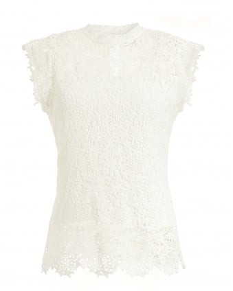 Womens Allie High Neck Lace White Top