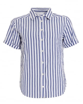 Womens Alyss Woven Striped Blue Shirt